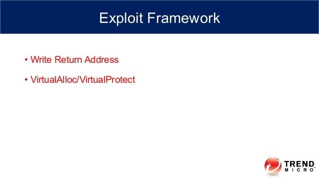 • Write Return Address • VirtualAlloc/VirtualProtect Exploit Framework