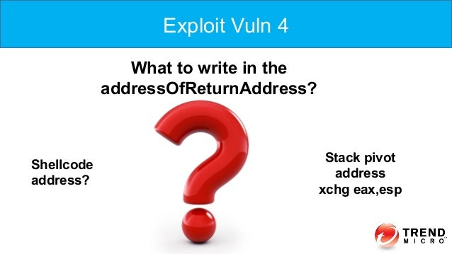 Exploit Vuln 4 What to write in the addressOfReturnAddress? Shellcode address? Stack pivot address xchg eax,esp