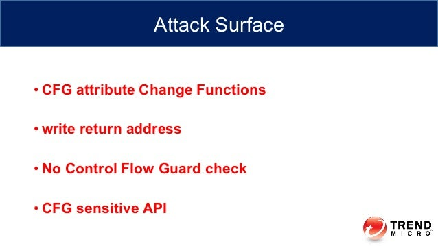 •CFG attribute Change Functions •write return address •No Control Flow Guard check •CFG sensitive API Attack Surface