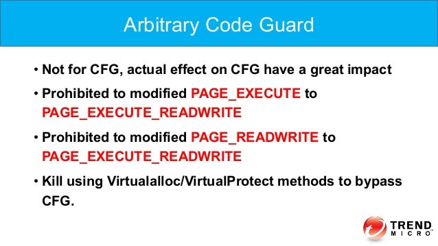 •Not for CFG, actual effect on CFG have a great impact •Prohibited to modified PAGE_EXECUTE to PAGE_EXECUTE_READWRITE •...