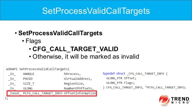 •SetProcessValidCallTargets •Flags •CFG_CALL_TARGET_VALID •Otherwise, it will be marked as invalid SetProcessValidCall...