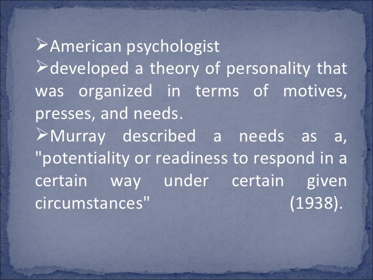 Personology of murray