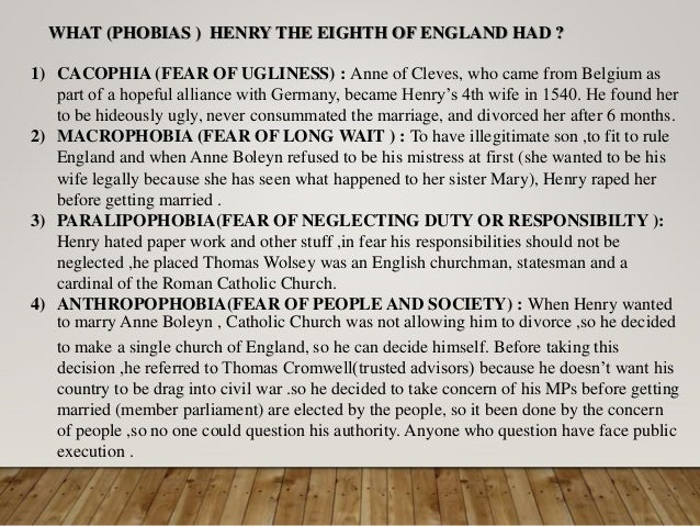 Henry the 8th Psychological problems