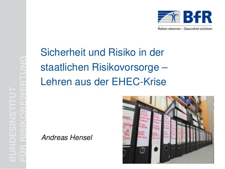 Sicherheit und Risiko in derFÜR RISIKOBEWERTUNG                      staatlichen Risikovorsorge –                      Leh...