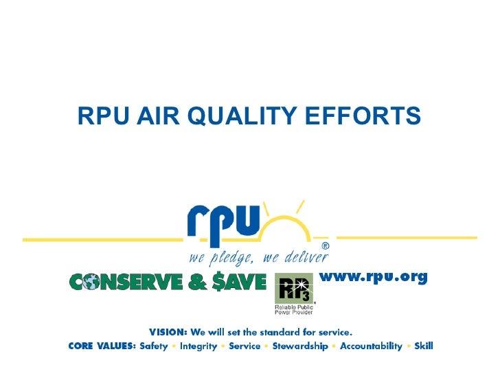 RPU AIR QUALITY EFFORTS
