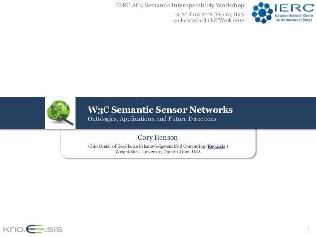 IERC AC4 Semantic Interoperability Workshop                                          19-20 June 2012, Venice, Italy       ...