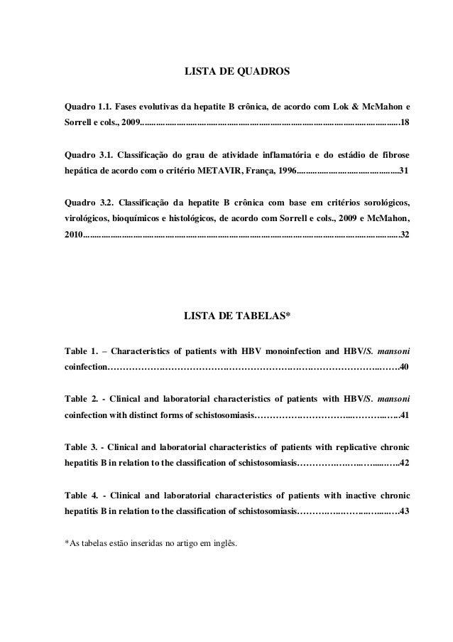 10 LISTA DE QUADROS Quadro 1.1. Fases evolutivas da hepatite B crônica, de acordo com Lok & McMahon e Sorrell e cols., 200...
