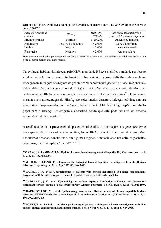 18 Quadro 1.1. Fases evolutivas da hepatite B crônica, de acordo com Lok & McMahon e Sorrell e cols., 200918-19 Fase da he...