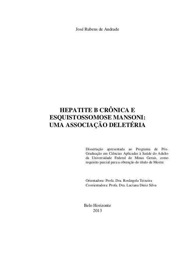1 José Rubens de Andrade HEPATITE B CRÔNICA E ESQUISTOSSOMOSE MANSONI: UMA ASSOCIAÇÃO DELETÉRIA Dissertação apresentada ao...