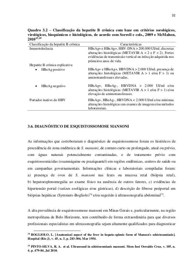 32 Quadro 3.2 – Classificação da hepatite B crônica com base em critérios sorológicos, virológicos, bioquímicos e histológ...