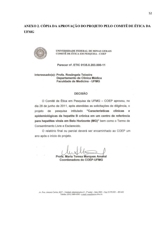 52 ANEXO 2. CÓPIA DA APROVAÇÃO DO PROJETO PELO COMITÊ DE ÉTICA DA UFMG