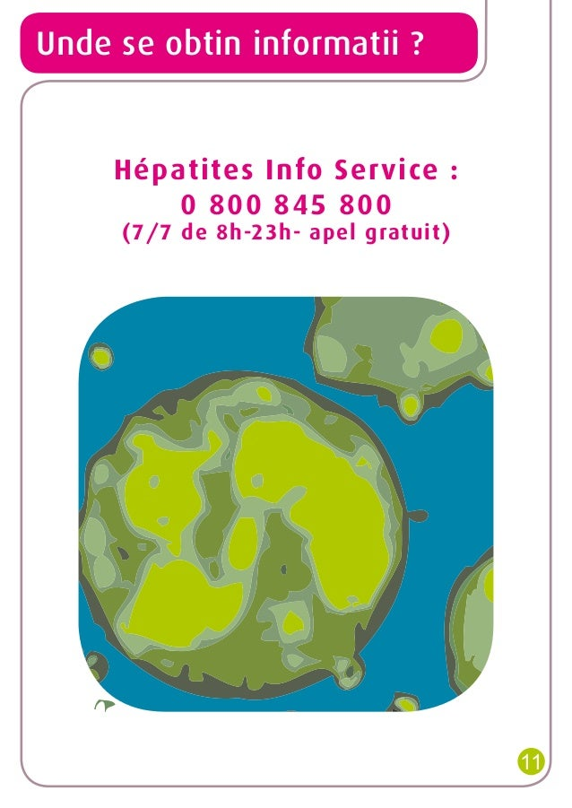 Unde se obtin informatii ?  Hépatites Info Service: 0800845800 (7/7 de 8h-23h- apel gratuit)  11