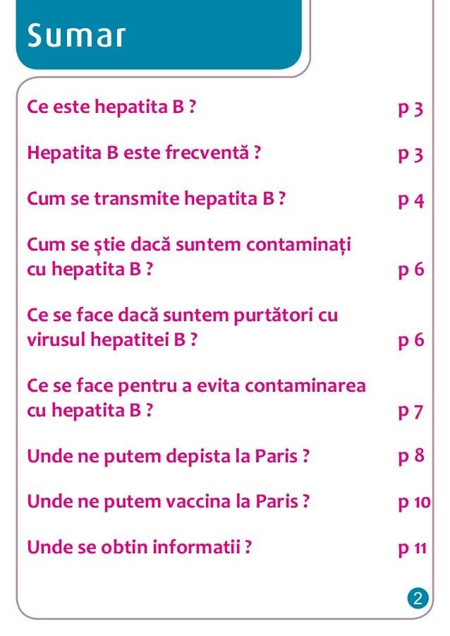 Sumar Ce este hepatita B ?  p3  Hepatita B este frecventă ?  p3  Cum se transmite hepatita B ?  p4  Cum se ştie dacă sunte...