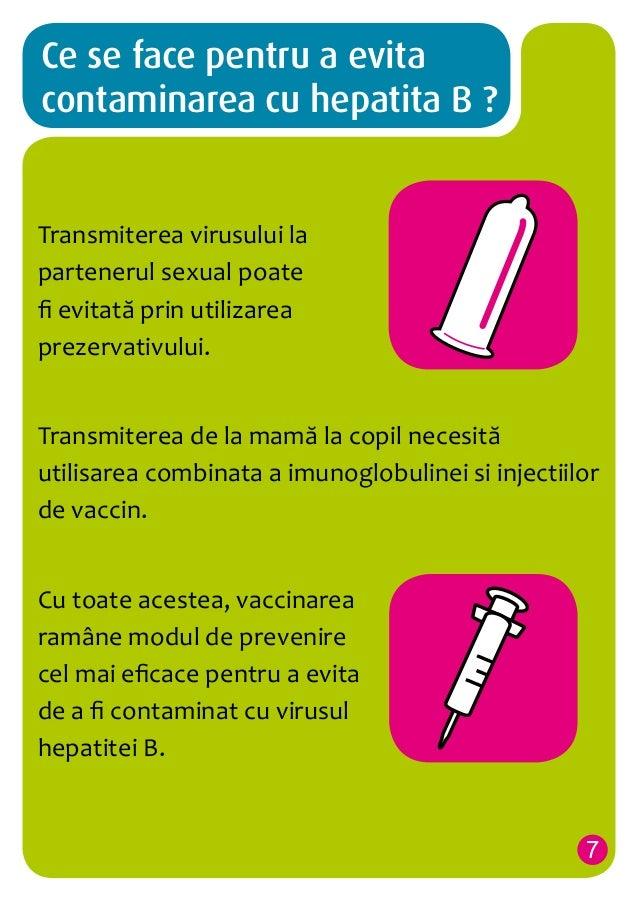 Ce se face pentru a evita contaminarea cu hepatita B ?  Transmiterea virusului la partenerul sexual poate fi evitată prin ...