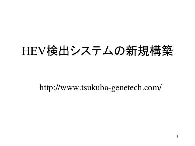 HEV検出システムの新規構築 http://www.tsukuba-genetech.com/ 1