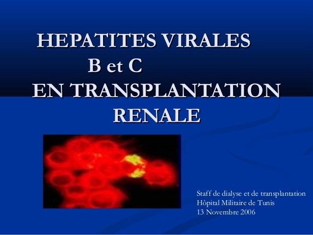 HEPATITES VIRALESHEPATITES VIRALES B et CB et C EN TRANSPLANTATIONEN TRANSPLANTATION RENALERENALE Staff de dialyse et de t...