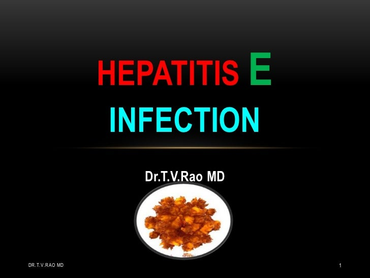HEPATITIS E                 INFECTION                  Dr.T.V.Rao MDDR.T.V.RAO MD                     1