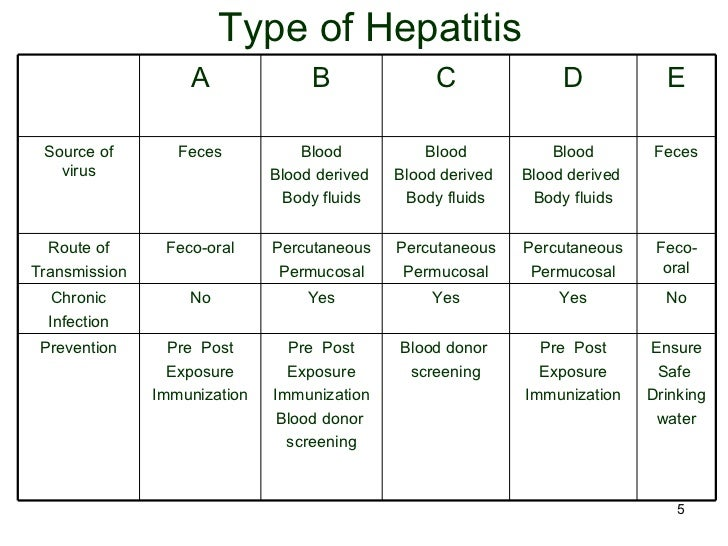 what are the types of hepatitis