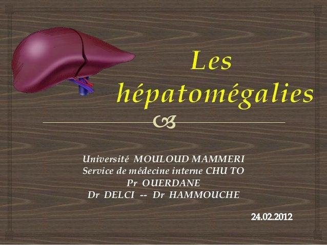 Université MOULOUD MAMMERIService de médecine interne CHU TO          Pr OUERDANE Dr DELCI -- Dr HAMMOUCHE