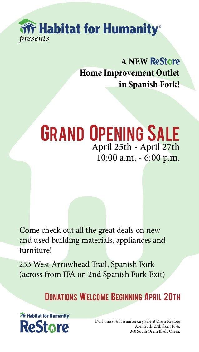 presents                          A NEW                 Home Improvement Outlet                         in Spanish Fork!  ...
