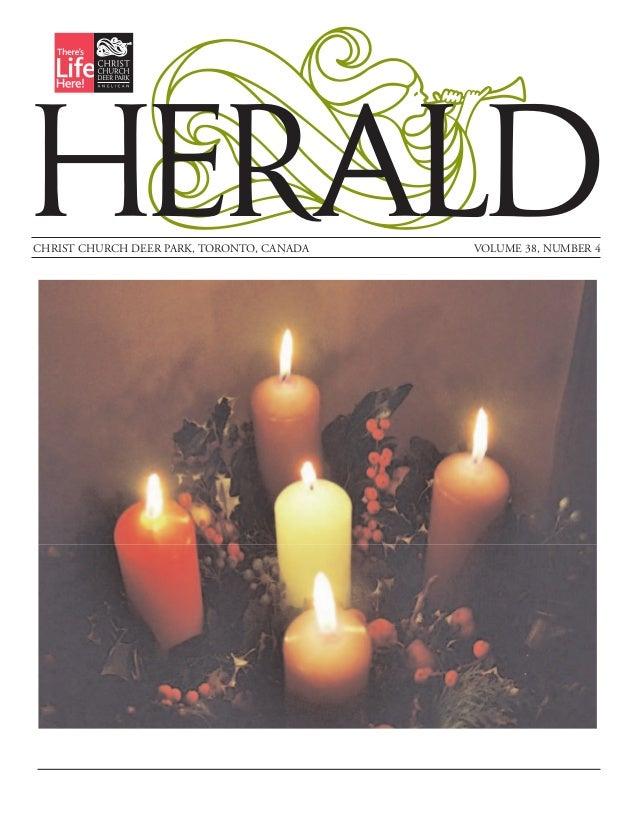 HERALDCHRIST CHURCH DEER PARK, TORONTO, CANADA   VOLUME 38, NUMBER 4