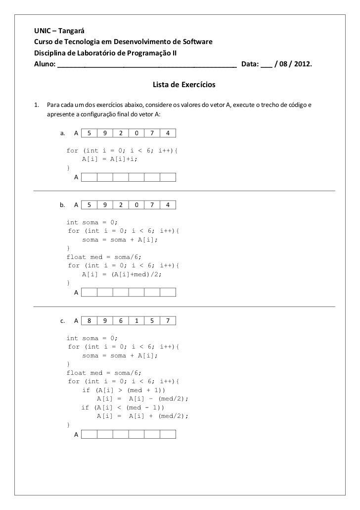 UNIC – TangaráCurso de Tecnologia em Desenvolvimento de SoftwareDisciplina de Laboratório de Programação IIAluno: ________...
