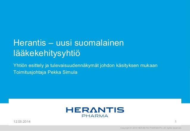 Herantis Pharma  Uusi suomalainen lääkekehitysyhtiö