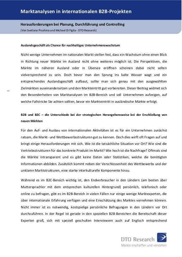 Marktanalysen in internationalen B2B-Projekten Herausforderungen bei Planung, Durchführung und Controlling (Von Svetlana P...