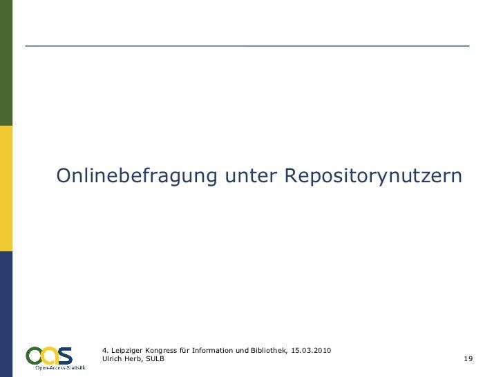 Onlinebefragung unter Repositorynutzern