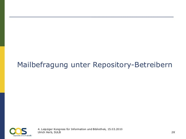 Mailbefragung unter Repository-Betreibern