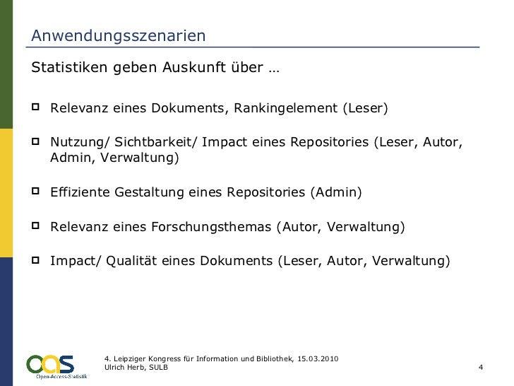 Anwendungsszenarien <ul><li>Statistiken geben Auskunft über … </li></ul><ul><li>Relevanz eines Dokuments, Rankingelement (...