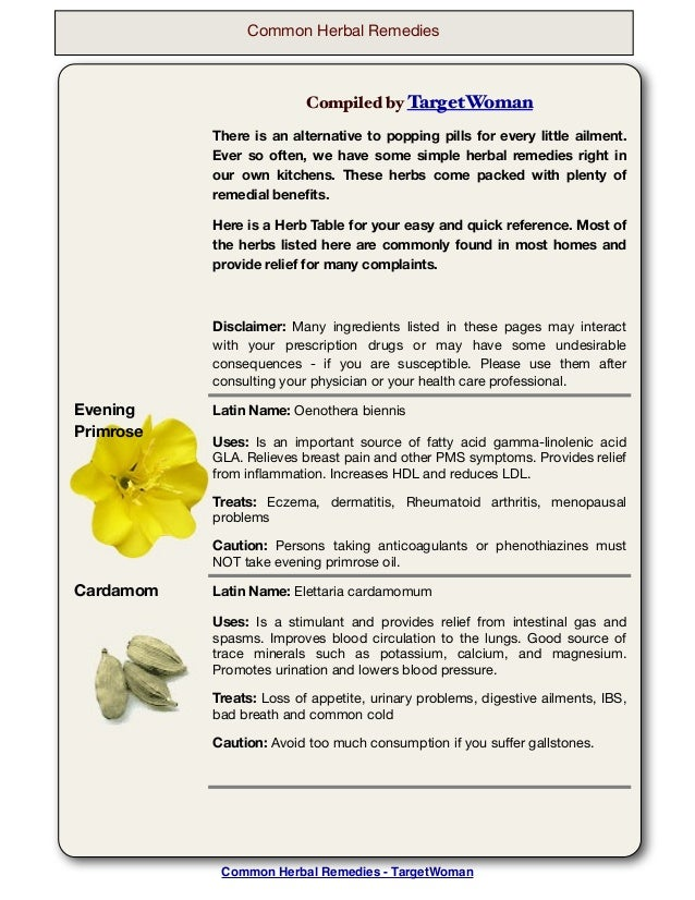 Common Herbal Remedies  Compiled by TargetWoman There is an alternative to popping pills for every little ailment. Ever so...