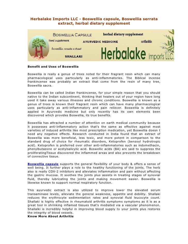 Herbalake Imports LLC - Boswellia capsule, Boswellia serrata             extract, herbal dietary supplementBenefit and Use...