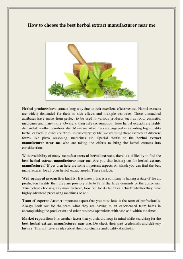 Strengths of Herbal Products