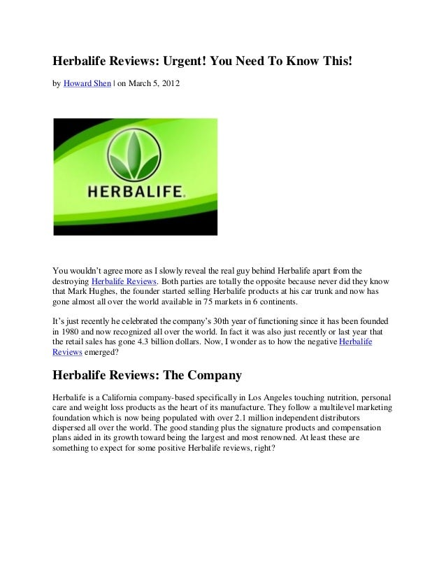 Herbalife Reviews: Urgent! You Need To Know This!by Howard Shen | on March 5, 2012You wouldn't agree more as I slowly reve...