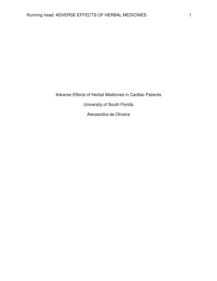 Running head: ADVERSE EFFECTS OF HERBAL MEDICINES                    1           Adverse Effects of Herbal Medicines in Ca...