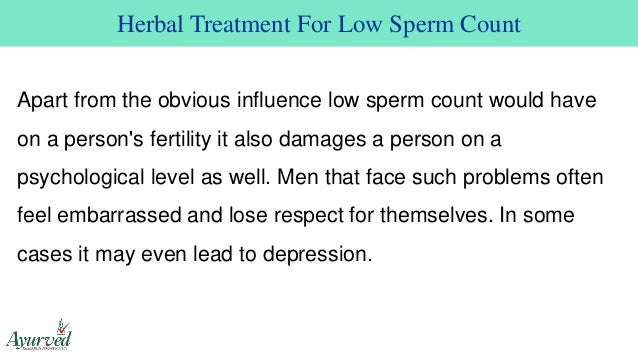 Low sperm count due to medication