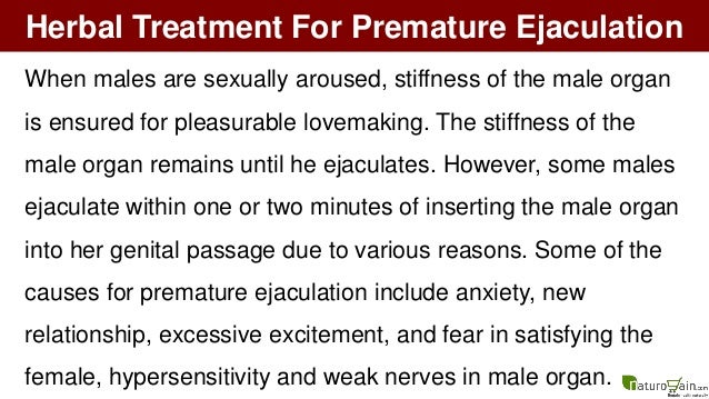 Herbal Treatment For Premature Ejaculation To Improve Male Health Nat