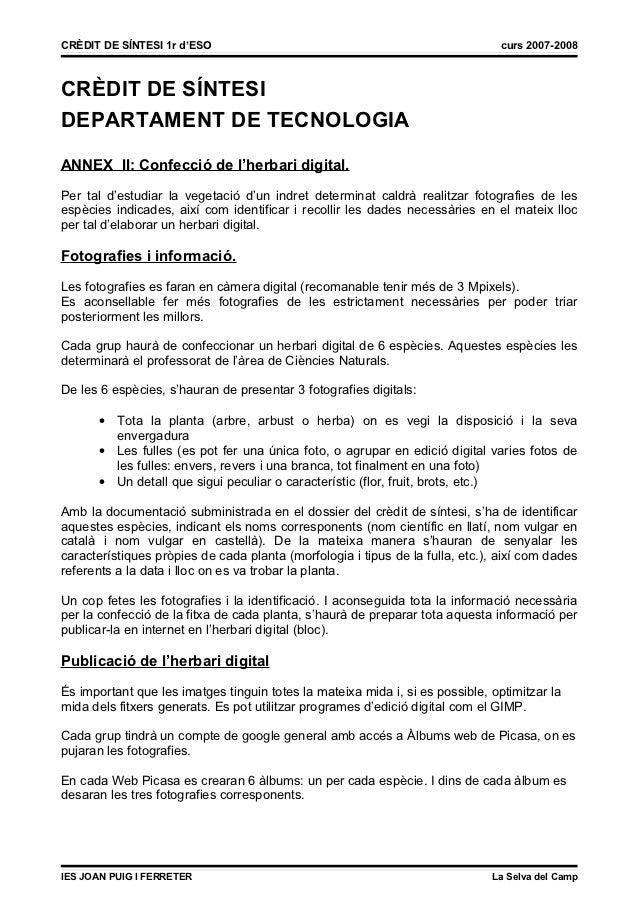 CRÈDIT DE SÍNTESI 1r d'ESO                                                      curs 2007-2008CRÈDIT DE SÍNTESIDEPARTAMENT...