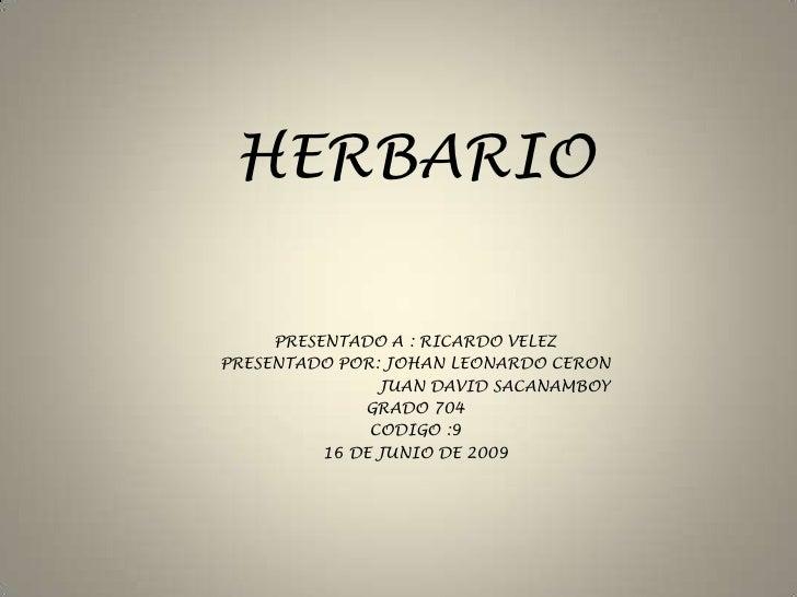 HERBARIO <br />PRESENTADO A : RICARDO VELEZ<br />PRESENTADO POR: JOHAN LEONARDO CERON <br />                              ...