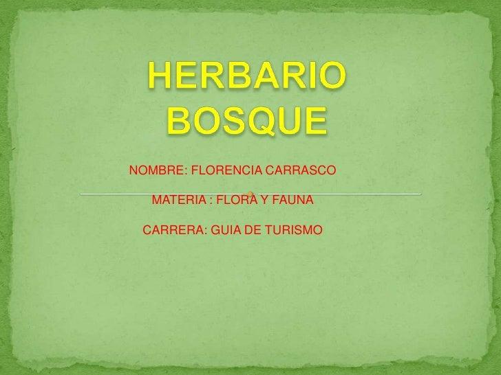 NOMBRE: FLORENCIA CARRASCO  MATERIA : FLORA Y FAUNA CARRERA: GUIA DE TURISMO