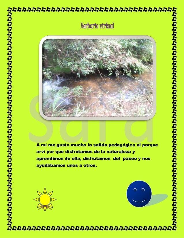 Herbario virtual A mí me gusto mucho la salida pedagógica al parque arvi por que disfrutamos de la naturaleza y aprendimos...