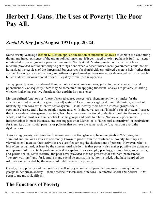 9/18/11 9:04 AMHerbert Gans. The Uses of Poverty: The Poor Pay All Page 1 of 5file:///Users/ericstrayer/Desktop/MASTER%20F...