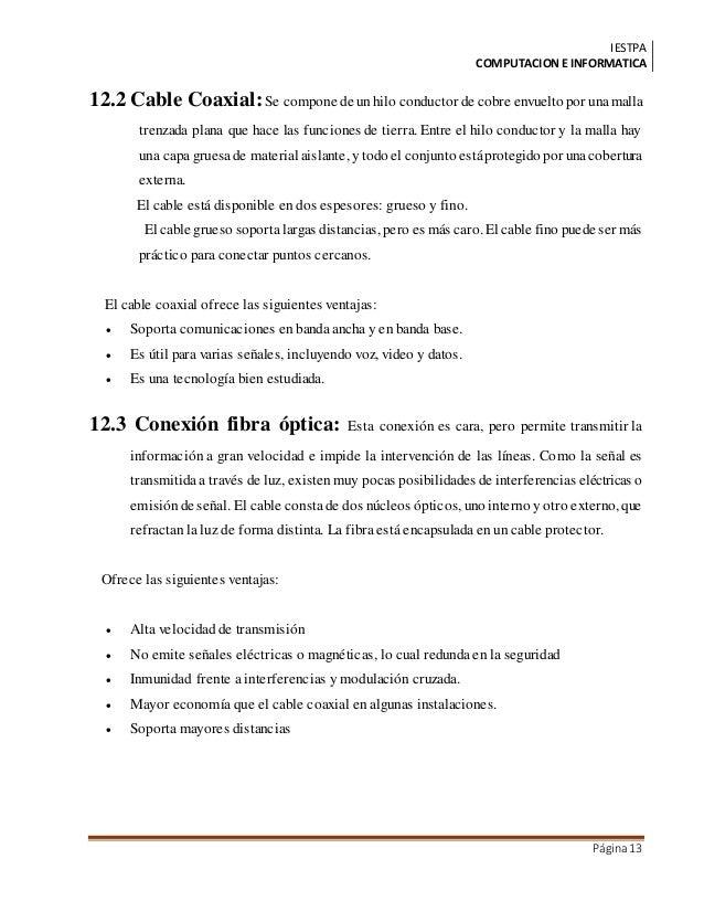 IESTPA COMPUTACIONE INFORMATICA Página13 12.2 Cable Coaxial:Se compone de unhilo conductor de cobre envuelto por unamalla ...