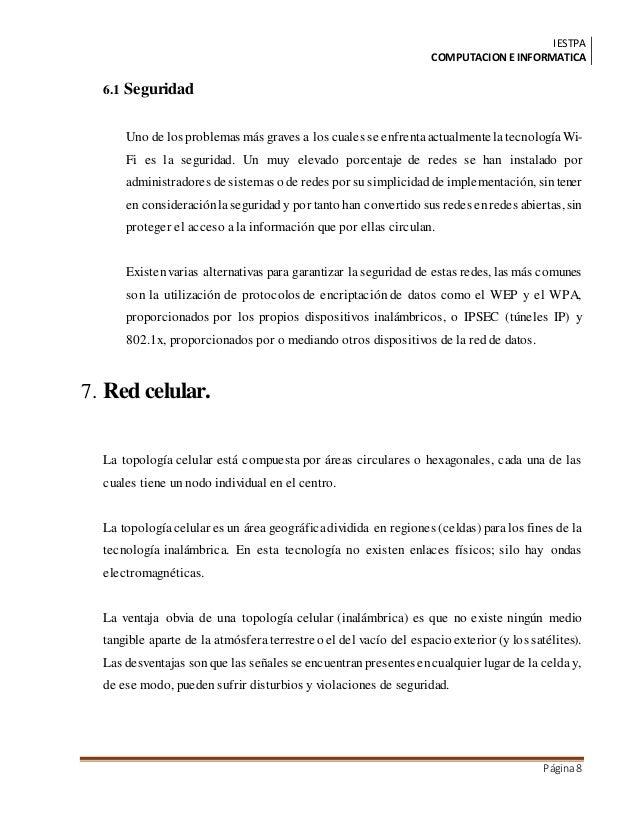 IESTPA COMPUTACIONE INFORMATICA Página8 6.1 Seguridad Uno de los problemas más graves a los cuales se enfrentaactualmentel...