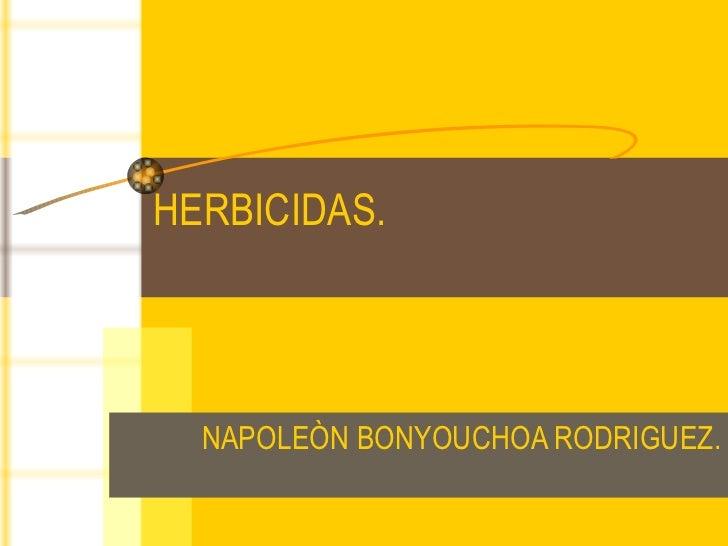 HERBICIDAS. NAPOLEÒN BONYOUCHOA RODRIGUEZ.