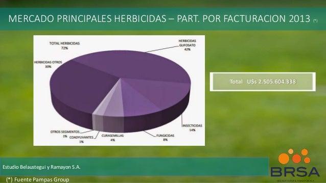 MERCADO PRINCIPALES HERBICIDAS – PART. POR FACTURACION 2013 (*) Estudio Belaustegui y Ramayon S.A. (*) Fuente Pampas Group