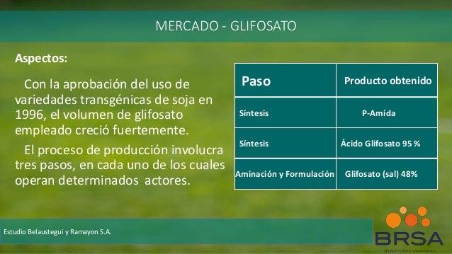 Aspectos: Con la aprobación del uso de variedades transgénicas de soja en 1996, el volumen de glifosato empleado creció fu...