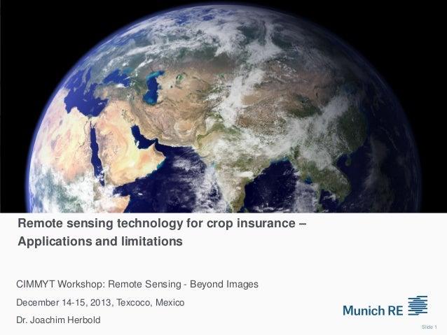 Remote sensing technology for crop insurance – Applications and limitations  CIMMYT Workshop: Remote Sensing - Beyond Imag...