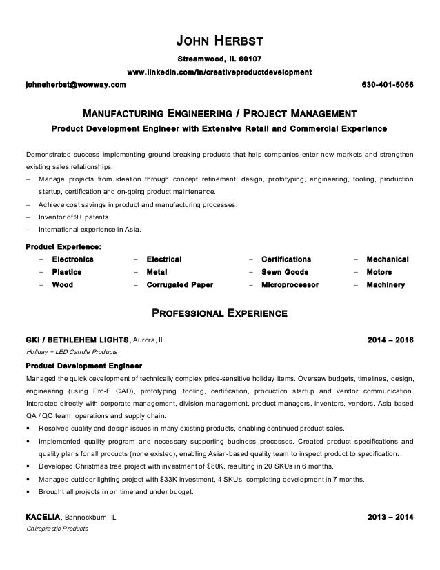 Herbst John Resume Manufacturing Engineer 2016